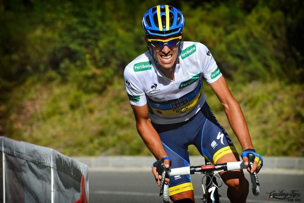Los Ancares - Spain - wielrennen - cycling - radsport - cyclisme - Alberto Contador Velasco (Team Saxobank - Saxo Bank) pictured during stage 14 of the Vuelta Espana 2012- Palas do Rei > Los Ancares - foto Sabine Jacob/Pool/Cor Vos ©2012